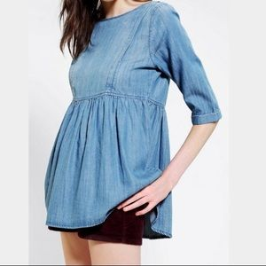 Urban Outfitters Peplum Chambray Top